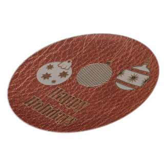Leather-Look Christmas Red Dinner Plate
