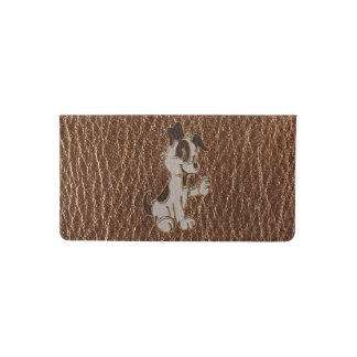 Leather-Look Dog Checkbook Cover