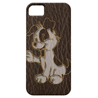 Leather-Look Dog Dark iPhone SE/5/5s Case