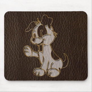 Leather-Look Dog Dark Mouse Pad
