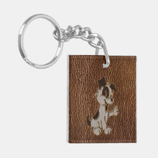 Leather-Look Dog Keychain