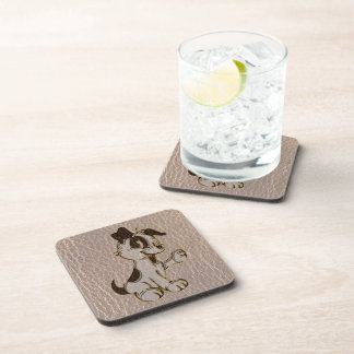 Leather-Look Dog Soft Drink Coaster