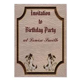 "Leather-Look Dog Soft 5"" X 7"" Invitation Card"
