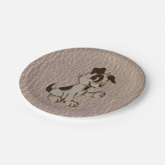 Leather-Look Dog Soft Paper Plate