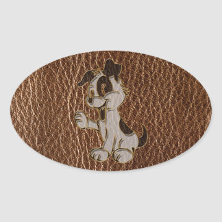 Leather-Look Dog Oval Sticker