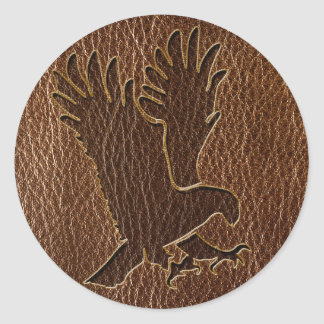 Leather-Look Eagle Classic Round Sticker
