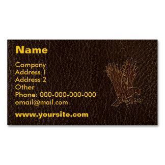 Leather-Look Eagle Dark Business Card Magnet