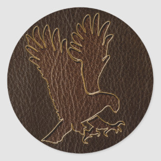 Leather-Look Eagle Dark Classic Round Sticker