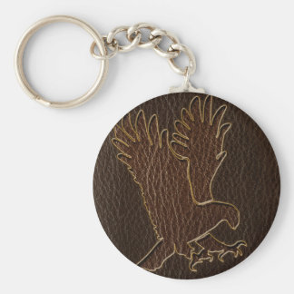 Leather-Look Eagle Dark Keychain
