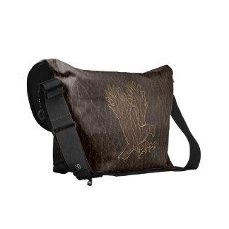 Leather-Look Eagle Dark Messenger Bag