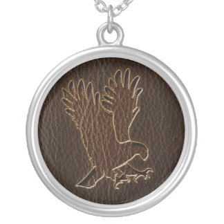 Leather-Look Eagle Dark Silver Plated Necklace