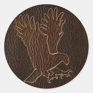 Leather-Look Eagle Dark Classic Round Sticker