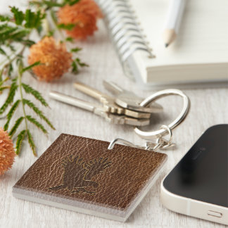 Leather-Look Eagle Square Acrylic Keychains