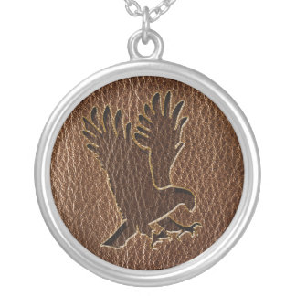Leather-Look Eagle Silver Plated Necklace