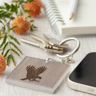 Leather-Look Eagle Soft Keychain