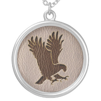 Leather-Look Eagle Soft Silver Plated Necklace