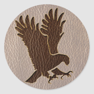 Leather-Look Eagle Soft Classic Round Sticker
