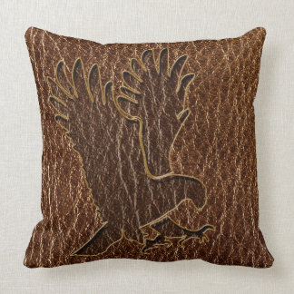 Leather-Look Eagle Throw Pillow