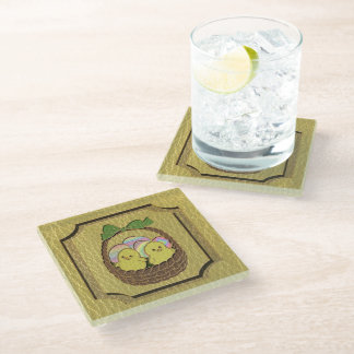 Leather-Look Easter Basket Glass Coaster