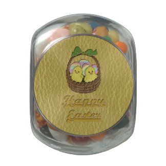 Leather-Look Easter Basket Jelly Belly Candy Jar