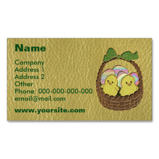 Leather-Look Easter Basket Magnetic Business Card