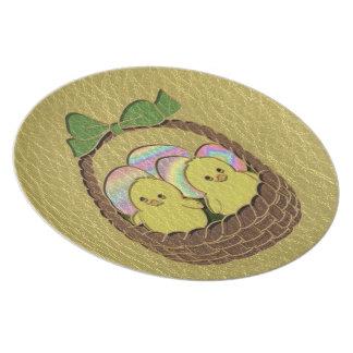 Leather-Look Easter Basket Melamine Plate