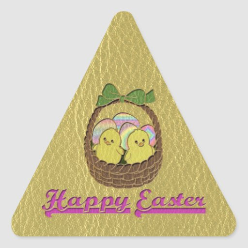 Leather-Look Easter Basket Triangle Sticker