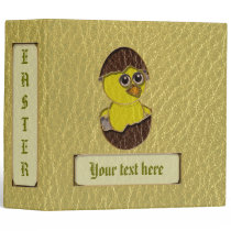Leather-Look Easter Chicken 3 Ring Binder