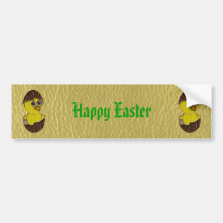 Leather-Look Easter Chicken Car Bumper Sticker