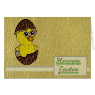 Leather-Look Easter Chicken Card