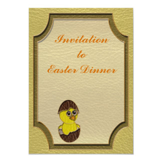 """Leather-Look Easter Chicken 5"""" X 7"""" Invitation Card"""