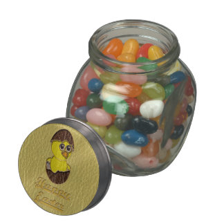 Leather-Look Easter Chicken Jelly Belly Candy Jars