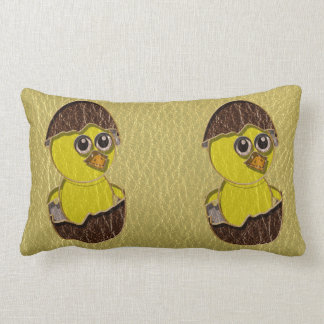 Leather-Look Easter Chicken Lumbar Pillow