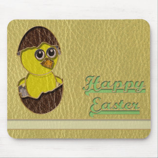 Leather-Look Easter Chicken Mouse Pad