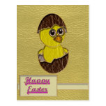 Leather-Look Easter Chicken Postcard