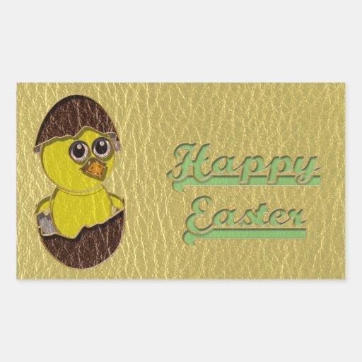 Leather-Look Easter Chicken Rectangular Sticker