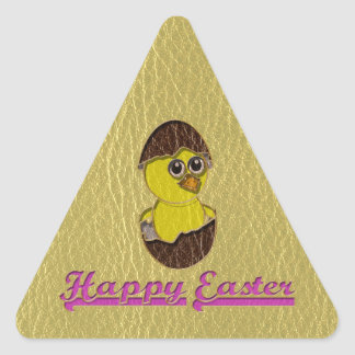 Leather-Look Easter Chicken Triangle Sticker