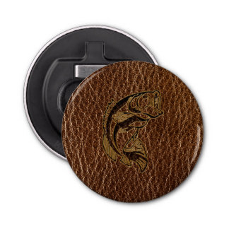 Leather-Look Fish Button Bottle Opener