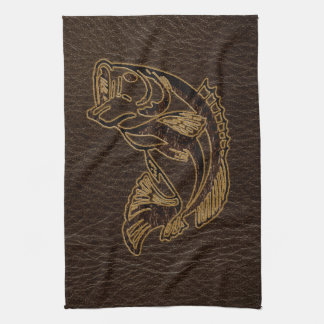 Leather-Look Fish Dark Hand Towel