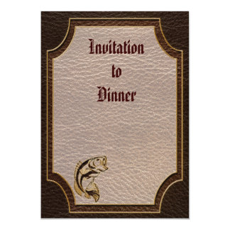 "Leather-Look Fish Dark 5"" X 7"" Invitation Card"