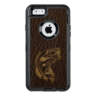 Leather-Look Fish Dark OtterBox Defender iPhone Case