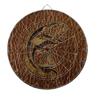Leather-Look Fish Dartboard With Darts