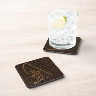 Leather-Look Fisherman Dark Beverage Coaster