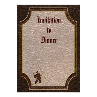 Leather-Look Fisherman Dark 5x7 Paper Invitation Card