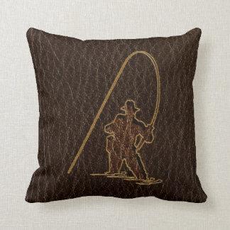 Leather-Look Fisherman Dark Throw Pillow