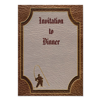 Leather-Look Fisherman 5x7 Paper Invitation Card