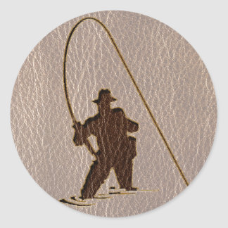 Leather-Look Fisherman Soft Classic Round Sticker