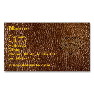 Leather-Look Flower 2 Business Card Magnet