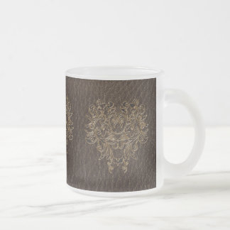 Leather-Look Flower 2 Dark Frosted Glass Coffee Mug