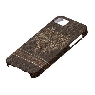 Leather-Look Flower 2 Dark iPhone SE/5/5s Case